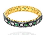 Art Deco Tennis Bracelet 5.2 Ct Uncut Natural Certified Diamond 3 Ct Emerald 925 Sterling Silver Office Wear