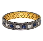 Art Deco Bracelet 5.22 Ct Uncut Natural Certified Diamond 3 Ct Blue Sapphire 925 Sterling Silver Wedding