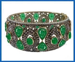 Uncut Diamond Bracelet 9 Ct Uncut Natural Certified Diamond 12 Ct Emerald 925 Sterling Silver Weekend