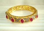 Art Deco Bracelet 3.84 Ct Uncut Natural Certified Diamond 6 Ct Ruby 925 Sterling Silver Festive