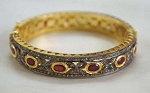 Vintage Diamond Bracelet 4.15 Ct Uncut Natural Certified Diamond 4.2 Ct Ruby 925 Sterling Silver Workwear