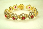 Antique Tennis Bracelet 5.2 Ct Uncut Natural Certified Diamond 5.5 Ct Ruby 925 Sterling Silver Vacation