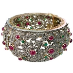 Victorian Bracelet 13.66 Ct Uncut Natural Certified Diamond 4 Ct Ruby Emerald 925 Sterling Silver Party