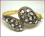 Antique Bracelets 3 Ct Uncut Natural Certified Diamond 925 Sterling Silver Workwear