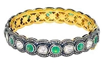 Antique Diamond Bracelet 7 Ct Uncut Natural Certified Diamond 3 Ct Emerald 925 Sterling Silver Everyday