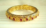 Vintage Bracelets 1.35 Ct Uncut Natural Certified Diamond 3.25 Ct Ruby 925 Sterling Silver Everyday