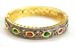 Vintage Bracelets 4 Ct Uncut Natural Certified Diamond 3.5 Ct Ruby Emerald 925 Sterling Silver Engagement