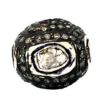 Antique Beads 1 Ct Uncut Natural Certified Diamond 925 Sterling Silver Weekend
