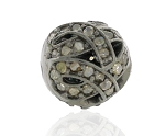 Art Deco Beads 0.5 Ct Uncut Natural Certified Diamond 925 Sterling Silver Workwear