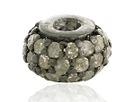 Vintage Beads 0.45 Ct Uncut Natural Certified Diamond 925 Sterling Silver Anniversary