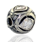 Antique Beads 0.4 Ct Uncut Natural Certified Diamond 925 Sterling Silver Office Wear