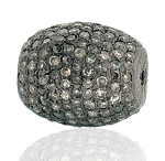 Pave Diamond Beads 1.1 Ct Uncut Natural Certified Diamond 925 Sterling Silver Special Occasion
