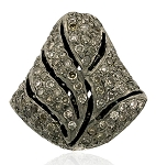 Pave Diamond Beads 1.3 Ct Uncut Natural Certified Diamond 925 Sterling Silver Vacation