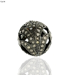 Antique Beads 0.7 Ct Uncut Natural Certified Diamond 925 Sterling Silver Anniversary