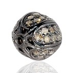 Art Deco Beads 0.48 Ct Uncut Natural Certified Diamond 925 Sterling Silver Office Wear