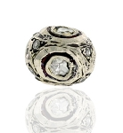 Pave Diamond Beads 0.41 Ct Uncut Natural Certified Diamond 925 Sterling Silver Festive