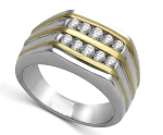 0.52 Ct Natural Untreated Diamond Solid Gold Men'S Ring Certified
