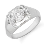 0.9 Ct Natural Untreated Diamond Solid Gold Men'S Ring Certified