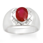 1.75 Ct Natural Untreated Diamond Ruby Solid Gold Men'S Ring Certified