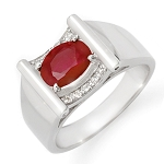 1.74 Ct Natural Untreated Diamond Ruby Solid Gold Men'S Ring Certified