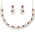 diamond Ruby & Gemstone Necklace 17.25 Ct Natural Certified Diamond Solid Gold Wedding