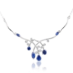Diamond Gemstone Necklace 3.95 Ct  Natural Certified Diamond B. Sapphire Solid Gold Wedding
