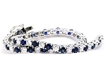 Eternity Bracelets 7 Ct Natural Diamond B. Sapphire Solid Gold Natural Certified