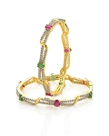 Diamond eternity Bangle 13.25 Ct Ruby And Emerald Solid Gold Natural Certified