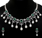 Bridal diamond Necklace Set 70.5 Ct Natural Diamond Emerald and Pearl Solid Gold Wedding Certified