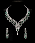 Diamond Necklace Set Design 66 Ct Natural Diamond Emerald and Pearl Solid Gold Wedding Certified