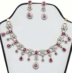 Diamond Jewelry Set 21.65 Ct Natural Diamond Ruby Solid Gold Wedding Engagement Certified