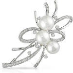 Wedding Brooches 6.5 Ct Pearl Solid Gold Fine Jewelry Natural Certified