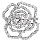diamond brooch for wedding dress 2.32 Ct Solid Gold pave jewelry Natural Certified