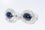 2.72 Ct Natural Diamond B. Sapphire Solid Gold Certified Cufflink