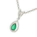 Diamond Pendant 0.6 Ct Solid White Gold Natural Certified