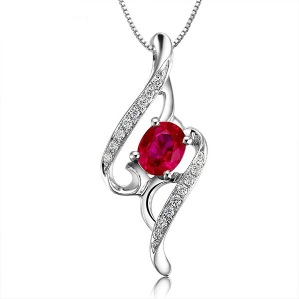 gemstone necklace designs diamond ruby solid gold