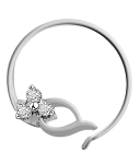 Diamond Nose Ring 0.09 Ct Round Shape Natural Certified Solid White Gold