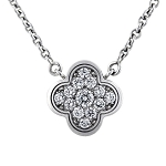 Diamond Pendant 0.42 Ct Solid White Gold Natural Certified