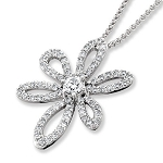 White Gold Pendnat 1.11 Ct Diamond Wedding Natural Certified