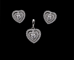 Diamond Pendant Set 1.65 Ct Solid Gold Natural Certified