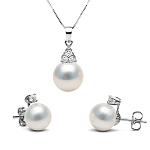 Latest Diamond Pendant Sets 6.75 Ct Pearl Solid Gold Natural Certified