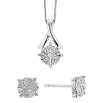 Diamond Pendant Earrings Set 1.25 Ct Solid Gold Natural Certified
