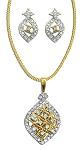 Gold Pendant Set With Earrings 1.57 Ct Diamond Solid Gold Natural Certified