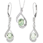 Gemstone Necklace Set 5.5 Ct Diamond Tourmine Solid Gold Wedding Natural Certified