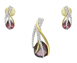 Natural Gematone Pendant Set 4.5 Ct diamond Garnet Solid Gold Natural Certified