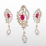 Gemstone Pendant Set 8.3 Ct Diamond Ruby Solid Gold Natural Certified