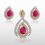 Gemstone Necklace Set 4.75 Ct Diamond Ruby Solid Gold Natural Certified