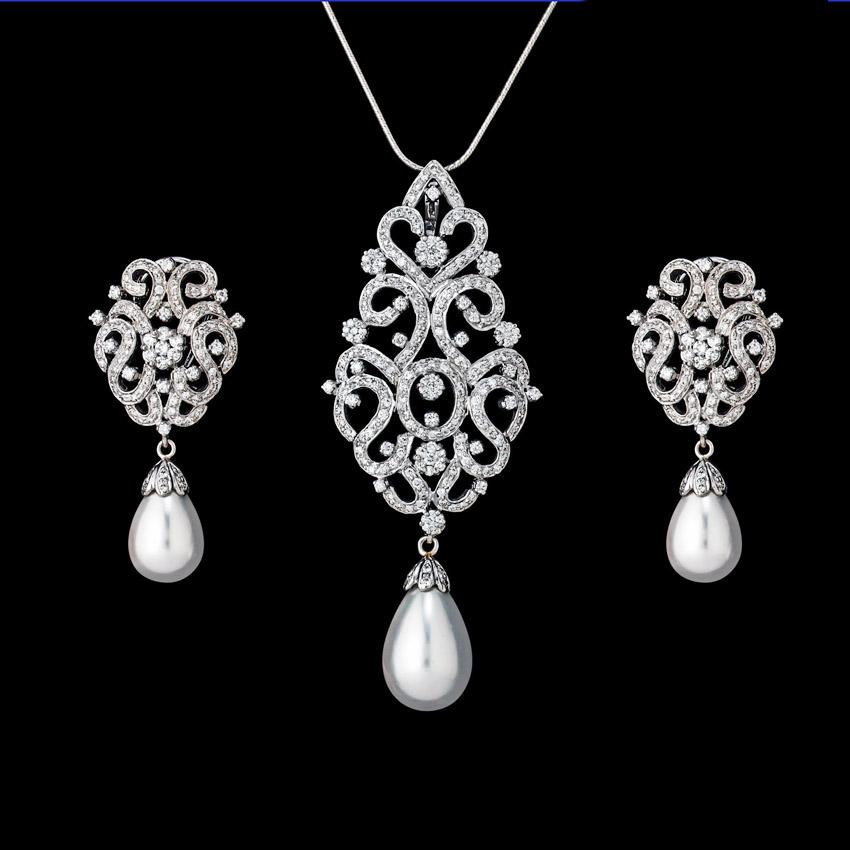 Diamond Pendant Set Designs 12 75 Ct Pearl Solid Gold Natural
