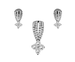Diamond Pendant Earrings Set 2.01 Ct Solid Gold Natural Certified