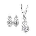 Small Diamond Necklace Set 0.85 Ct Solid Gold Natural Certified